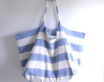 Extra large tote bag. Simple summer beach style thin fabric market tote. shopping bag. Ready to ship