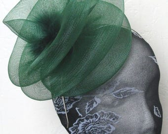 green feather fascinator millinery burlesque headband wedding hat hair piece