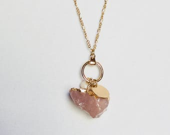 Gold and Crystal pendant necklace/Custom Map Charm