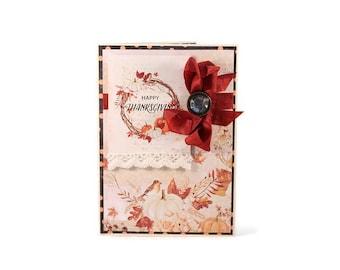 Handmade Thanksgiving Card, Happy Thanksgiving, Autumn Card, Fall Card, Thanksgiving Greeting Card, Autumn Leaves, Thanksgiving Gift
