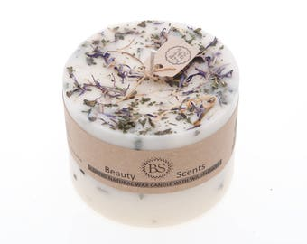 Handmade Scented Natural Candle With Wild Flowers D 9 H 8.5 cm