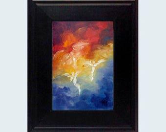 Angel Print, Guardian Angel, Framed Angel Art, Miniature Art, Angel Gift, Spiritual Gift, Home Decor