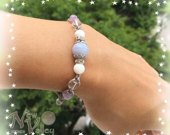 "Macrame style, Bluelace Agate, White Agate, Quartz, Lavender Amethyst, Labradorite, Gemstone Bracelet ""HazyLace"""