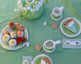 Felt and fabric Tea Set, Tea Party Set