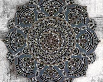 40cm Boho Hand Painted Wooden Laser Cut Henna Mandala Wall Hanging (Bohemian Home Decor/Art/Interior Design)