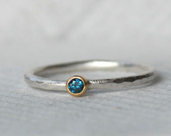 Tiny Blue Diamond Ring - Gold and Silver Stack Ring - 2.5mm Blue Diamond Stack Ring - Eco-Friendly Recycled