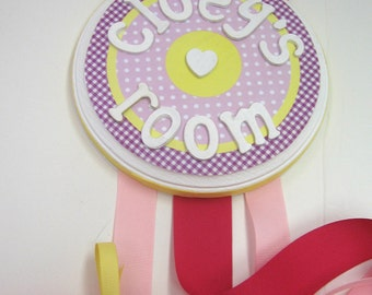 PB Room/ Bow Holder to coordinate with Pink Daisy Garden Bedding