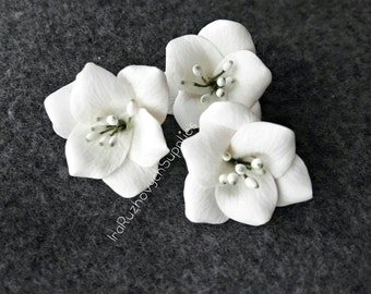3 pcs. or more white flowers, polymer clay flower bead
