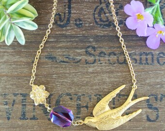 Gold Large Swallow and Swarovski Crystal Necklace