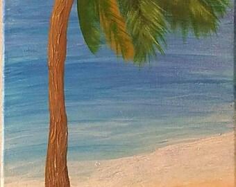 Windswept palm - original hand painted beachscape