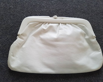 Vintage 80s White Italian Leather Clutch