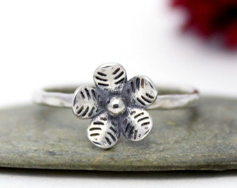 Silver Flower Ring, Statement Ring, Lovely Flower Ring, Cute Stackable Ring, Everyday Ring, Cherry Blossom Silver Ring, Must Have Ring