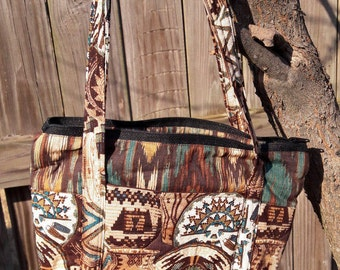 Quilted Brown Purse in Southwestern print fabrics, Small Handbag with zippered closer, Pocketbook with lots of compartments inside and out
