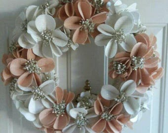 Peachy Tan, Cream and Sparkle Felt floral wreath