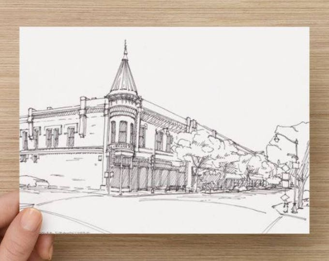 Ink Sketch of Downtown Los Gatos, California - Drawing, Art, Architecture, History, Storefronts, Pen and Ink, 5x7, 8x10, Print