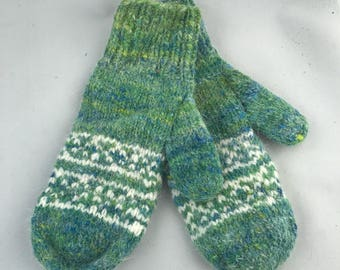 Green and cream colorwork wool mittens