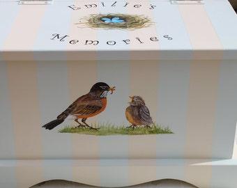 Baby Keepsake Box Baby Keepsake Chest Bird nest baby memory box hand painted personalized baby gift neutral