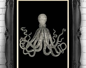 Octopus Squid Art Print BW Octopus Poster, Octopus Bathroom Wall Decor, Beach Home Art Print Squid Poster, Octopus Bathroom Wall Decal 105