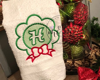 Bathroom Hand Towel | Monogrammed Towel | Custom Bathroom Towels | Christmas Decor | Christmas Towel |Christmas gift