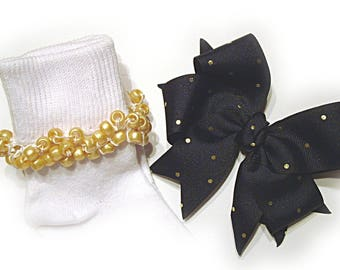 Kathy's Beaded Socks - Navy Blue with Gold Dots Socks and Hairbow, holiday socks, pony bead socks, gold socks, pearl socks, holiday socks