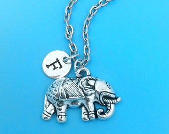 Indian elephant necklace, personalized necklace, elephant charm necklace, initial necklace, elephant charm, elephant pendant, elephant chain