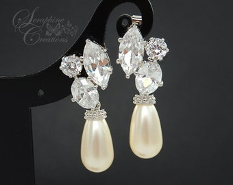 Pearl Bridal Earrings Wedding Jewelry Cubic Zirconia Teardrop Pearl Earrings Swarovski Bridesmaid Gift White Cream Eliana K093B