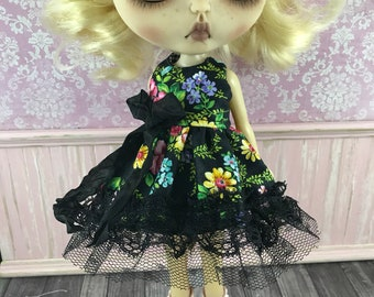 Blythe Dress - Black Floral with Black Bow