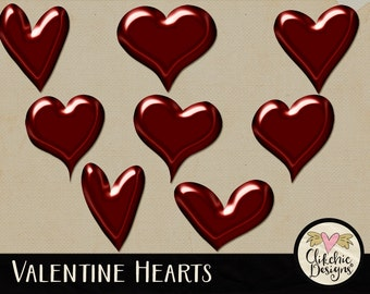Hearts Clipart - Digital Love Hearts Digital Scrapbook Clip Art Embellishments - Digital Valentine Hearts, Digital Hearts Clipart