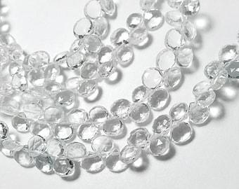 Aquamarine Briolette  Gemstone. Faceted Heart Briolette. Semi Precious Natural Gemstone. Untreated, No Enhancement. 5-6mm. Your Choice (jaq)
