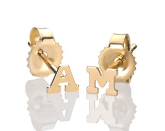 mini 14k solid gold initial stud earrings, gold letter studs