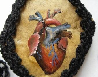 Hand Painted Crochet stones - Crochet Rocks - Anatomical hearts - Stone Necklace -  Crochet covered stones - Pendant Heart stones