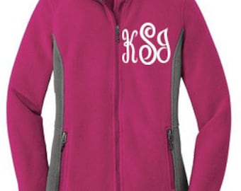 Womens Monogrammed Fleece Jacket, Monogrammed Bridesmaid Fleece Jacket, Bridal Party Jacket, Wedding Party Jacket, Personalized Jacket