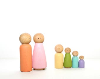 Wood Peg Doll Family Set - Pastel Rainbow