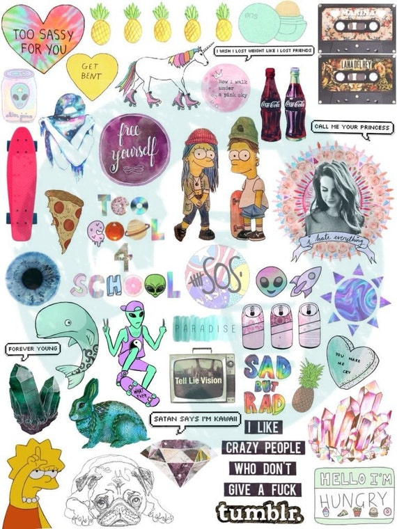 Set 10 tumblr stickers stickers set of stickers decals - Stickers mobili ...