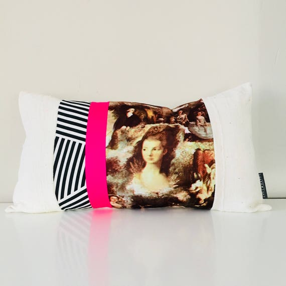 "Black and White Striped Pillow Cover 14""x24"" Lumbar Cushion Vintage Bohemian French Baroque Portrait Neon Pink White Mudcloth"