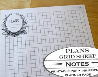 Garden Bed Planner Worksheet and Grid Paper- Printable Garden Planner Page for Garden Journals