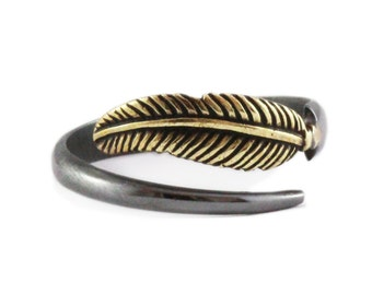 Black Gold Ring Sterling Silver Feather Ring