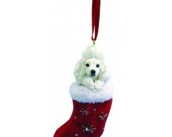 Poodle White Santa's Little Pals Dog Christmas Ornament