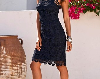 Official silk dress in blue crochet / custom