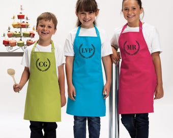 Personalised Kids Childrens INITIALS Olive Branch Apron Baking Cooking Novelty Gift Child Personalized Custom Baking Cookery Fan