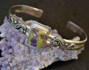Atlantisite and seahorse sterling silver cuff bracelet.  fits up to 7 inch wrist.