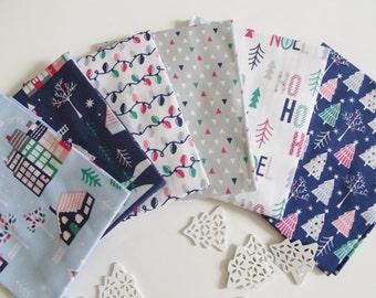 Christmas Village Fabric Fat Quarter Bundle-100% Cotton, Craft & Quilting