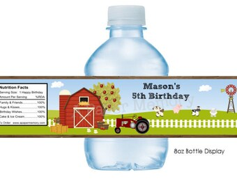 Farm Barn Animals Water Bottle Labels DIY Printable