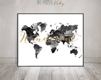 Etsy shop for anything from creative people everywhere wanderlust world map watercolor print world map poster travel map black gumiabroncs Images