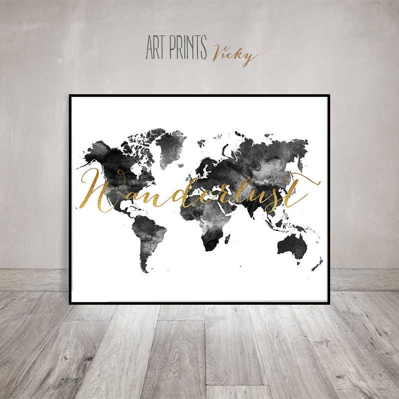 Wanderlust world map watercolor print world map poster zoom gumiabroncs Images
