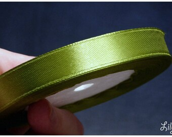 1 meter of Ribbon in kiwi green satin darken 12mm