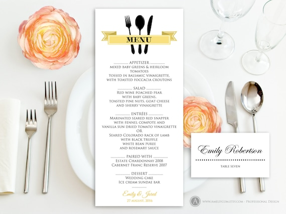 Printable Gold Menu Free Place Card Template SelfPrint - Wedding place card templates free download