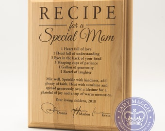 Personalized Mom Wooden Plaque - Mothers Day Gift - Hand Signed Recipe Special Mom 10x8 Alder Wall Plaque - Custom Engraved Signature Plaque