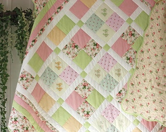 "Quilted coverlet ""Spring joy"" in the Provencal style"