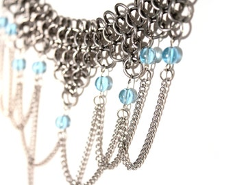 Renaissance Wedding Chainmaille Necklace With Glass Beads & Draped Chain